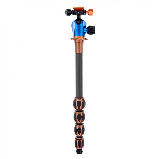 3 Legged Thing Equinox ALBERT Kit Trípode de Fibra de Carbono profesional para viajeros con cabezal AirHed 360 30Kg. (Bronce / Gris)