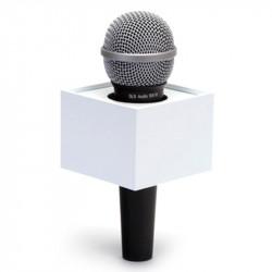 """Benchmark R300225W Portalogo """"Micflag"""" Blanco Rectangular para Micrófono de mano 7,62cm x 5,70cm"""