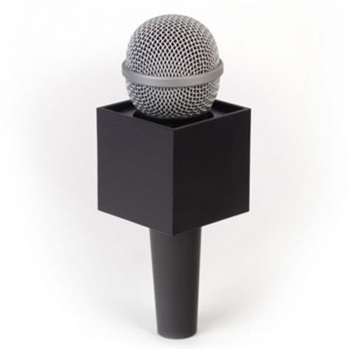 "Benchmark S250B Portalogo ""Micflag"" Negro Cuadrado para Micrófono de mano 6,30cm x 6,30cm"
