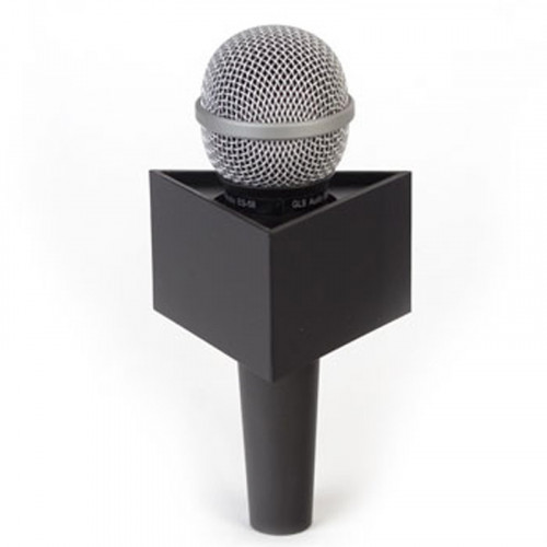"Benchmark T350200B Portalogo ""Micflag"" Negro Triangular para Micrófono de mano 8,90cm x 5,08cm"