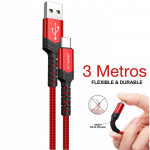 Cable USB-C a USB-A de 3 metros de largo (color rojo)