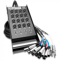 Hosa SH-16X4-25 Snake Pro-Conex Stage Box 16 x XLR y  4 x 1/4 TRS cable de 7.6 mts