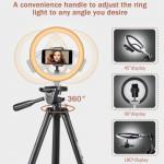 """UBeesize Ring Light 10"""" Compact Selfie con trípode y soporte flexible para Smartphone"""