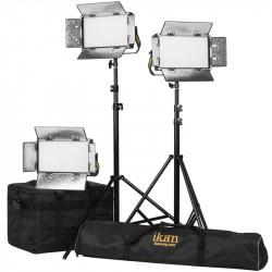 Ikan Lyra Kit Led Entrevistas 3 Luces Bi Color 3200K-5600K con V-Mount