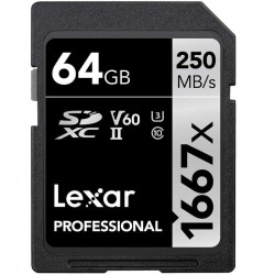 Lexar SDXC 64GB V60 4K UHS-II U3 Lectura 250MB/s / 90MBs
