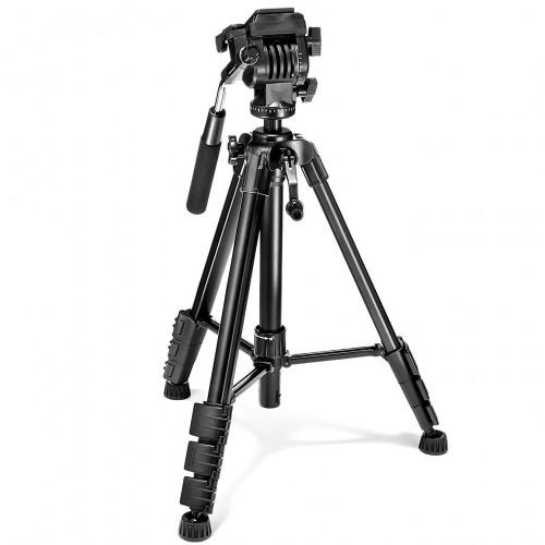 Prima PHKV001 Kit de trípode y cabezal de video de aluminio compacto