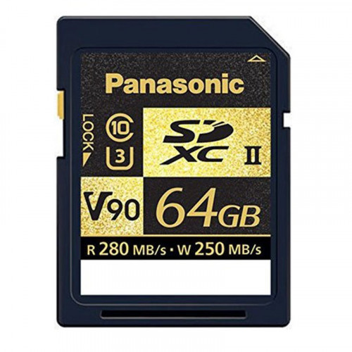 Panasonic SDXC 64GB V90 UHS-II U3 Lectura 280MB/s / 250MBs para ALL-intra