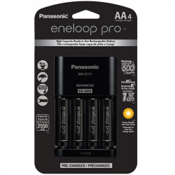 Panasonic Eneloop AA  4-Baterías Ni-MH con Cargador Advanced 2550 mAh