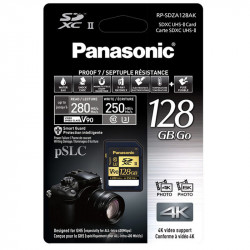 Panasonic SDXC 128GB V90 UHS-II U3 Lectura 280MB/s / 250MBs para ALL-intra