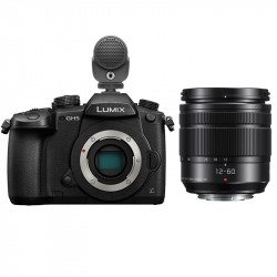 Panasonic Lumix GH5 Cinema 4K con Lente G Vario 12-60mm f/3.5-5.6 y Micrófono MKE200