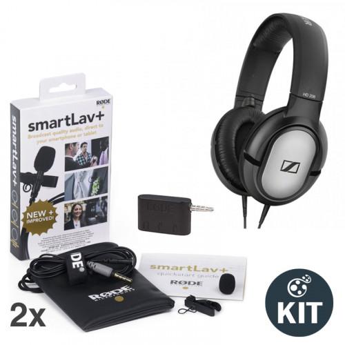 Rode SmartLav+ Kit de Entrevistas con 2 Mic Lavalier y Audífono Sennheiser HD206