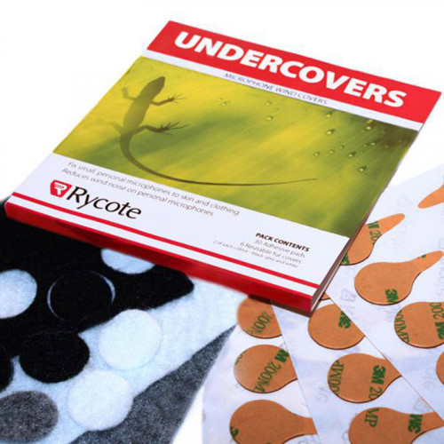 Rycote Undercovers Paraviento lijero para micrófonos Lavalier con 30 stickies  Blanco, Gris y Negro