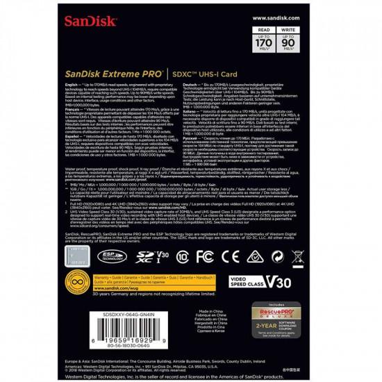 SanDisk SDHC/SDXC Extreme Pro 64GB Class 10 UHS-1 U3 V30 Nueva Generación 170MB/s L / 90MB/s E