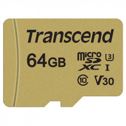 Transcend MicroSDXC/SDHC 500S 64GB Class 10 95MB/s 4K Ultra HD V30