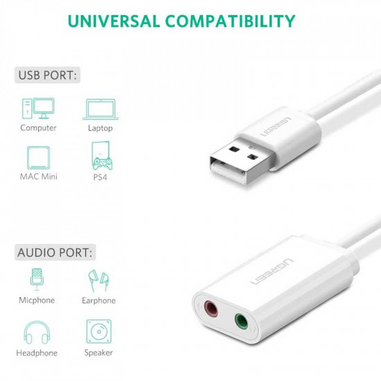 Ugreen USB Adaptador Audio Mic + Audífonos 3.5mm