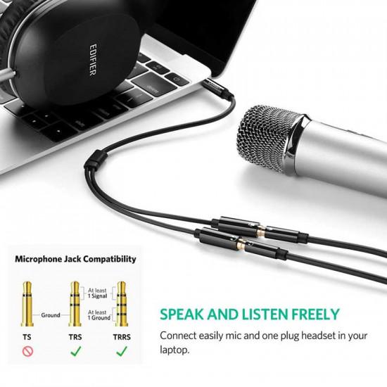Ugreen 30620 Cable TRRS macho de audio a dos TRS hembra 15cm