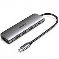 Ugreen 80132 Estacion USB-C (Thunderbolt 3) HDMI + USB 3.0 + 3.5mm Audífonos + USB-C
