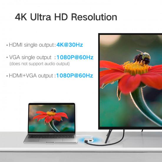 Ugreen Cable con PD USB-C a HDMI + adaptador VGA (plateado)