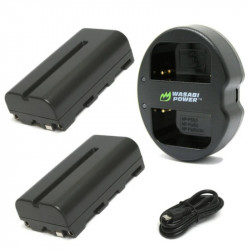 Wasabi Kit Cargador doble y 2 Baterías Serie L NP-F550