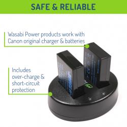 Wasabi Power Cargador doble y LP-E12 Batería de ión-litio (2 pack)