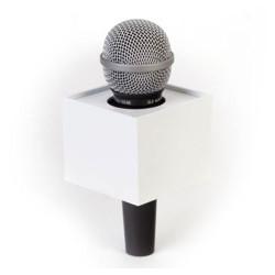 """Benchmark R300250W Portalogo """"Micflag"""" Blanco Rectangular para Micrófono de mano 7,62cm x 6,35cm"""