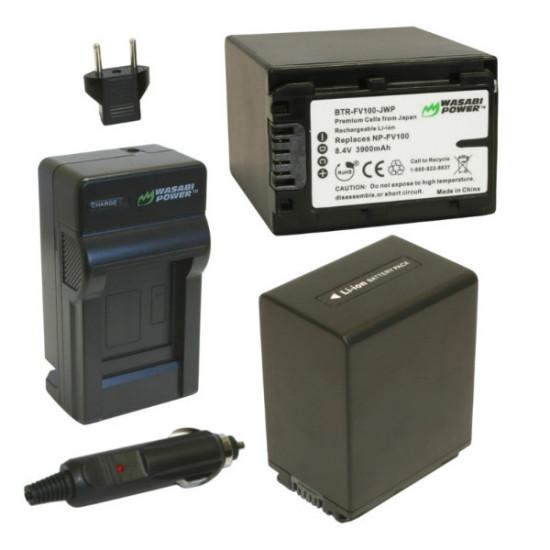 Wasabi FV100 2 Baterías y Cargador para Sony NP-FV100